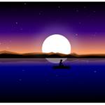 Рисунок в inkscape: ночная рыбалка.