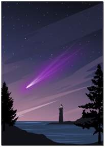 Комета на вечернем небе