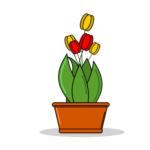 Рисунок цветов в горшке.