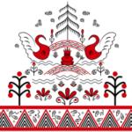 Сумка в мезенской росписи