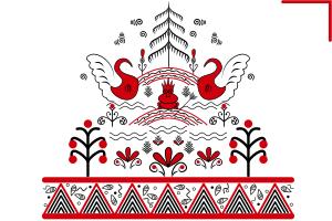 вектор мезенская роспись