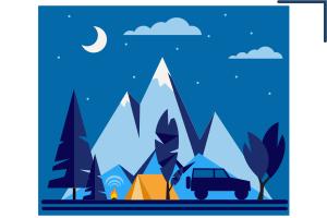 векторная иллюстрация ночной лагерь