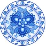 Гжельская роспись посуды в векторе