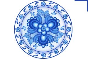 гжельская роспись вектор