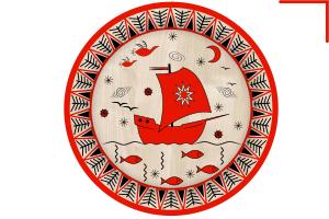 мезенская роспись, тарелка