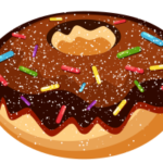 Такой вкусненький, такой сладенький пончик. Увы, только рисунок.
