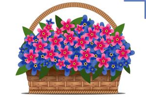 корзина с цветами, вектор