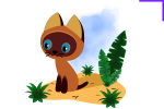 Котенок Гав, несложный рисунок в векторном редакторе