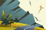 Горная дорога, векторная иллюстрация с помощью одного инструмента.