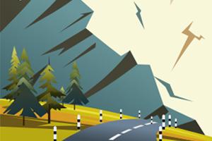 Горная дорога, векторная иллюстрация